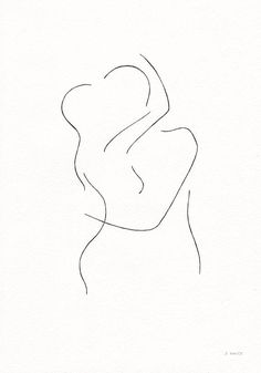 Two nude figures kissing. Minimalist ink drawing by siret roots.