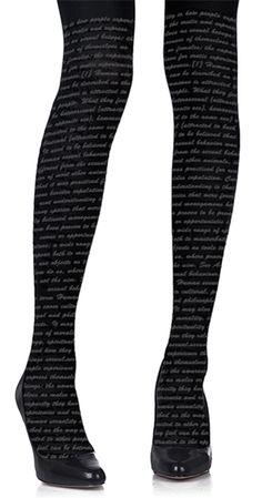 Love Text Print Tights Black & Grey – Zohara