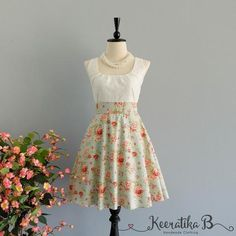 My lady - Spring Summer Sundress White Lace Top Pale Blue Floral Skirt Blue Floral Bridesmaid Dress Lace Party Dress Prom Dress XS-XL