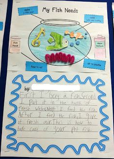 """Write about class pet Informational writing freebie that uses """"how to"""" steps and signal/transition words @ The Lightbulb Lab First Grade Crafts, First Grade Activities, Fish Activities, Writing Activities, First Grade Classroom, Classroom Themes, Fish Life Cycle, Sharing A Shell, Informational Writing"""