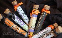 Fun Halloween test tubes filled with candy.