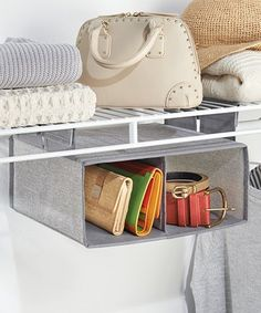Look at this Aldo Hanging Two-Compartment Organizer Reduce closet clutter with this convenient two-compartment hanging closet organizer great for clothes, shoes, purses and more. W x H x D Polypropylene Imported Hanging Closet Storage, Hanging Organizer, Container Organization, Closet Organization, Organization Ideas, Storage Ideas, Organising Ideas, Storage Solutions, Clever Kitchen Storage