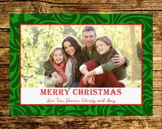 Digital Christmas Card / Printable / Green Swirl by BlissfulSoiree