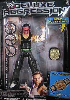 WWE Deluxe Figures #21 Jeff Hardy by Jakks. $114.99. 6 Inch Action Figure. Realistic Scuplt and Decoration. Comes with Battling Accessory. Wrestling Superstar of Today!. 25 Points of Articulation!. From the Manufacturer                This is the only ultra articulated deluxe WWE figure that allows you to perform all of his most popular signature moves.