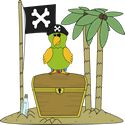 Pirate Flag and Parrot on an Island - free and cute pirate clip art!