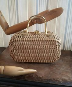Vintage Purse Wicker Box Bag Gold Handle Hook Clasp Abstract Yellow Fabric Inner Ritter It S In The 50 Mid Century Fashion Handbag