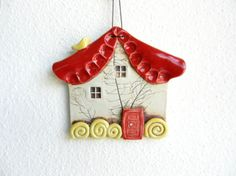 Clay house wall hanging, Ceramic house, Pottery house,Fairy house, House ornament, house decoration on Etsy, $25.00