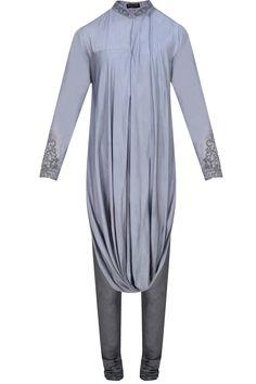 Venetian blue cowl drape kurta with churidaar pants available only at Pernia's Pop Up Shop.