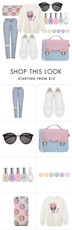 """#alien"" by d-nadine ❤ liked on Polyvore featuring Topshop, Alexander McQueen, Yves Saint Laurent, La Cartella, Sally Hansen, Deborah Lippmann, Chicnova Fashion, women's clothing, women and female"