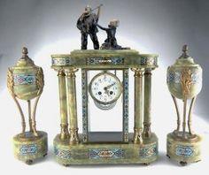 Champleve Enamel & Onyx Figural Clock Set, 19th Century French