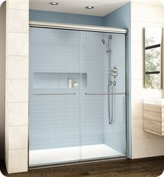 Fleurco Banyo Cordoba Bypass Plus Semi Frameless Sliding Shower Doors Frameless Shower Enclosures, Frameless Sliding Shower Doors, Glass Shower Doors, Sliding Doors, Shower Pans And Bases, Traditional Shower Curtains, Acrylic Shower Base, Big Bathrooms, Bathroom Showers