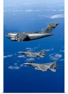 Stocktrek Images Poster Print Wall Art Print entitled F15B Eagles escort the first Hawaiibased C17 Globemaster III to its home, None