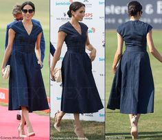 Meghan in Carolina Herrera for Sentebale Polo Cup Charity Event – What Meghan Wore Modest Fashion, Girl Fashion, Fashion Dresses, Womens Fashion, Fashion Line, Denim Maxi Dress, Jeans Dress, Event Dresses, Casual Dresses