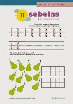 belajar berhitung paud, menulis angka 11-20 untuk balita/TK