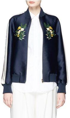 Stella McCartney 'Lorinda' Floral Embroidery Cotton-Silk Bomber Jacket