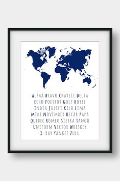 NATO Phonetic Alphabet, Aviation Decor, Pilot Gift, Boys Room Decor, Gift For Him, Morse Code, Military Decor. 26 code words assigned to the 26 letters of the English alphabet. Ideal for pilots, future pilots or aviation enthusiasts. Aviation Art for your home or your office. #phoneticalphabet #alphabet #pilotgift #aviationdecor #kidsroomdecor #giftforhim #boysroomdecor  #militarydecor Quebec, Tango, Nato Phonetic Alphabet, Aviation Decor, World Map Decor, Bunny Nursery, Pilot Gifts, Camera Art, Printable Bible Verses
