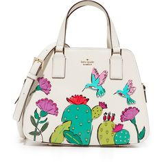 Kate Spade New York Cactus Little Babe Satchel ($280) ❤ liked on Polyvore featuring bags, handbags, multi, white satchel handbags, leather satchel handbags, genuine leather purse, leather satchel purse and white handbags