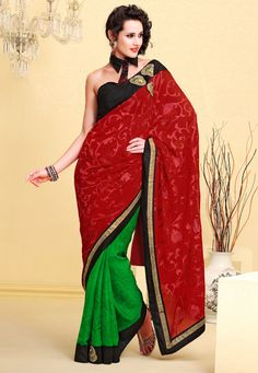Dark #Red Faux #Georgette and #Faux #Chiffon #Saree with Blouse @ $66.29