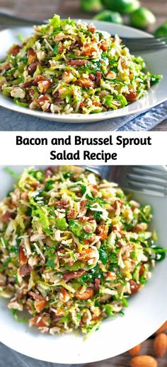 salad recipes This bacon and brussel sprout salad is so good! Thinly sliced brussel sprouts, crumbled bacon, Parmesan, almonds, and shallot citrus dressing. Healthy Food Recipes, Yummy Recipes, Diet Recipes, Cooking Recipes, Recipies, Veggie Salads Recipes, Tasty Salad Recipes, Bacon Dinner Recipes, Pasta Recipes