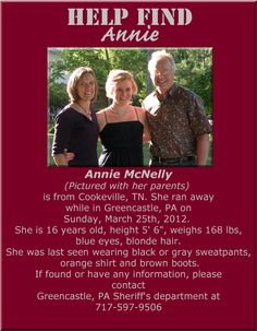 Everything one in the PA area please re-pin this!  Help bring Annie home.