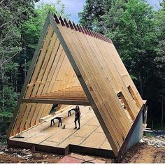 A Frame Cabin Plans, Cabin House Plans, Tiny House Cabin, Cabin Homes, Log Homes, My House, Tiny Houses, Cabins In The Woods, House In The Woods