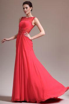 osell wholesale dropship Chiffon Pleated Applique Bateau Sleeveless Court Train A Line Evening Prom Dresses $84.13