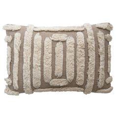 "24""W x 16""H Color: Tan, Cream Material: Cotton Woven Cotton Lumbar Pillow with Tufted Design Shop more Arrow & Avenue Neutral Pillows, Brown Pillows, Lumbar Throw Pillow, Cotton Pillow, Painted Rug, Pillow Reviews, Pillow Fight, Creative Co Op"