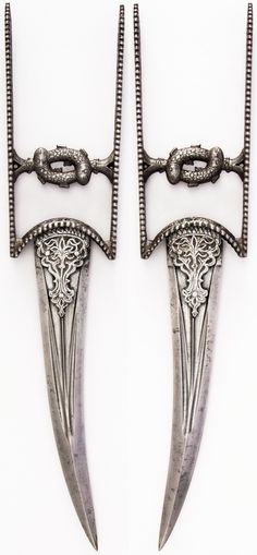 Indian katar, 17th to18th century, H. 16 1/4 in. (41.3 cm); W. 3 1/2 in. (8.9 cm); Wt. 19.1 oz. (541.5 g), Met Museum, Bequest of George C. Stone, 1935. #35