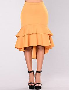 Women's Daily Going out Holiday Knee-length Skirts,Casual Sexy Street chic Bodycon Trumpet/Mermaid Polyester Solid Spring Summer