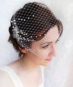 wedding birdcage veil pearl embellished wedding by thehoneycomb, $70.00