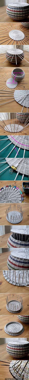 Recycled old newspaper basket Newspaper Basket, Newspaper Crafts, Recycled Crafts, Diy And Crafts, Arts And Crafts, Basket Crafts, Magazine Crafts, Paper Weaving, Weaving Patterns
