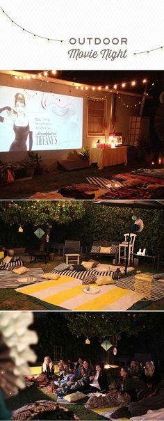 New Backyard Movie Night Party Diy 70 Ideas Backyard Movie Nights, Outdoor Movie Nights, Outdoor Movie Party, Outdoor Parties, Backyard Movie Night Party, Outdoor Games, Outdoor Ideas, Outdoor Cinema, Outdoor Theater