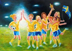 Painting «Soccer Champions» by Nadine Reifenberger, Acrylic on canvas board, 70 x 50 cm, 2014, grenadine.de.to