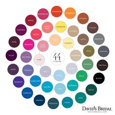 david's bridal color chart- Horizon, Malibu, Oasis & Begonia are the colors I'm thinking.