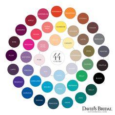 david's bridal color chart- Horizon, Malibu, Oasis & Begonia are the colors I'm thinking.