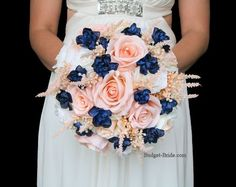 peach and navy blue wedding flower bouquet for bride or bridesmaid blue wedding flowers haare hochzeit wreath wedding flowers flowers summer flowers white wedding Peach Wedding Colors, Navy Wedding Flowers, Wedding Flower Guide, Spring Wedding Colors, Prom Flowers, Flower Bouquet Wedding, Flower Bouquets, Navy Peach Wedding, Blue Flowers Bouquet