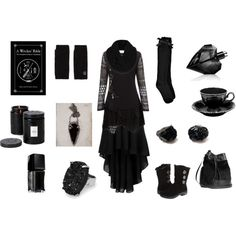Obsidian Witch by maggiehemlock on Polyvore featuring Boohoo, Alegria, H&M, Pamela Love, MANGO, Vince Camuto, Topshop, Diesel, Illamasqua and Voluspa