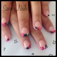 Marbled acrylic nail design