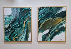 This 2 peice was created using the acrylic pouring method then framed in gold frames Gold Frames, Acrylic Pouring Art, Gold Paint, Green And Gold, Framed Artwork, Original Artwork, Unique Jewelry, Handmade Gifts, Painting