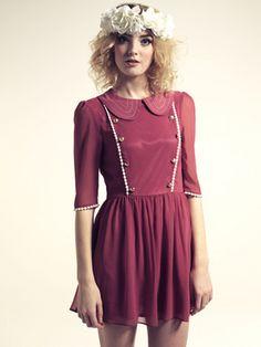 Dhalia Topstitch Collar Tea Dress