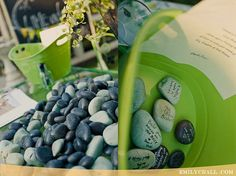 Messages of encouragement on pebbles