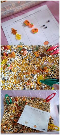 scarecrow sensory pin - looking for crows (black beads), pumpkins, and leaves.  Sort on free printable sorting sheet or into cups as seen in the post.  Teaching Heart.