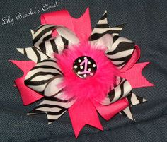 Zebra 1st bday stacked boutique bow  http://www.facebook.com/pages/Lily-Brookes-Closet/124383594299013