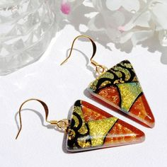 Glass Earrings Dichroic Fused Glass Jewelry Fused by IntoTheLight, $21.00