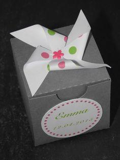 Boîte à dragées baptême Moulin à vent à pois vert & rose - boîte dragées mariage, baptême : Autres bébé par nessygan
