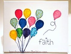 Сolorful paper balloons on canvas ...