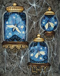 """535 Likes, 35 Comments - Ellen Scholten-Franke (@ellenscolorings) on Instagram: """"""""It was black as midnight in the tunnel...Hibernating fireflies snoozing in glass jars suddenly…"""""""