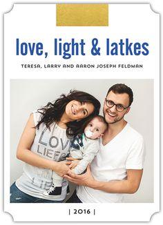 Love Light And Latkes Flat Card (Groove corners shown.) | Design by @erikafirm | #cards #hanukkah