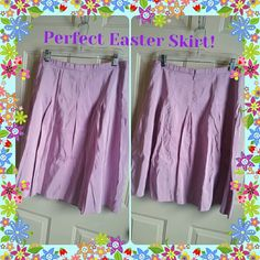 "Lovely Silk Blend skirt If you're looking for an Easter skirt, look no further... Lovely pastel lilac color with a slight sheen, silk blend 53% silk, 47% polyester, 100% polyester lining, hangs very nicely. Waist measures 17"" across, length 25-1/4"" long. Tag says handwash cold, drip dry.  Water spot on lower front and spot on inside back waistband. Needs laundering or dry cleaned, price reflects. Isaac Mizrahi Skirts A-Line or Full"
