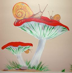 "whimsical murals | Hand-painted Mural ""African Safari"" – Mushrooms and Snails"